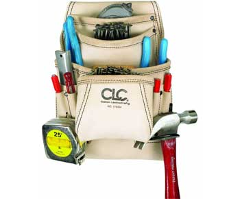 CLC-Custom-Leathercraft-179354-Carpenter's-Nail-and-Tool-Bag-Reversed-Top-Grain,-10-Pocket
